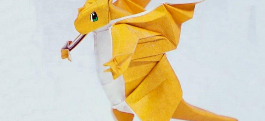 Оригами покемон Драгонит из жёлто-белой бумаги