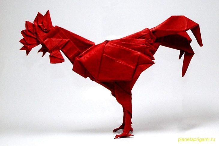 Оригами петух по схеме Сатоши Камия (Satoshi Kamiya)