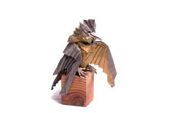 Как сложить хохлатого зимородка оригами по схеме Morisue Kei