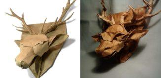 Оригами голова оленя на щите от Андрея Ермакова (Andrey Ermakov)