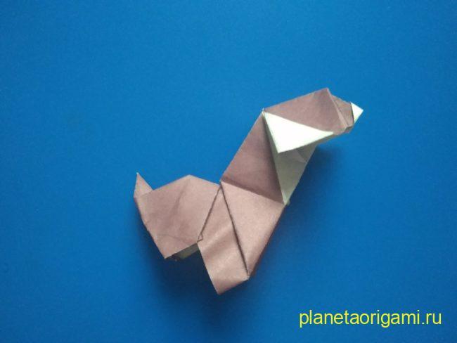 Легкие оригами собака: инструкция с фото
