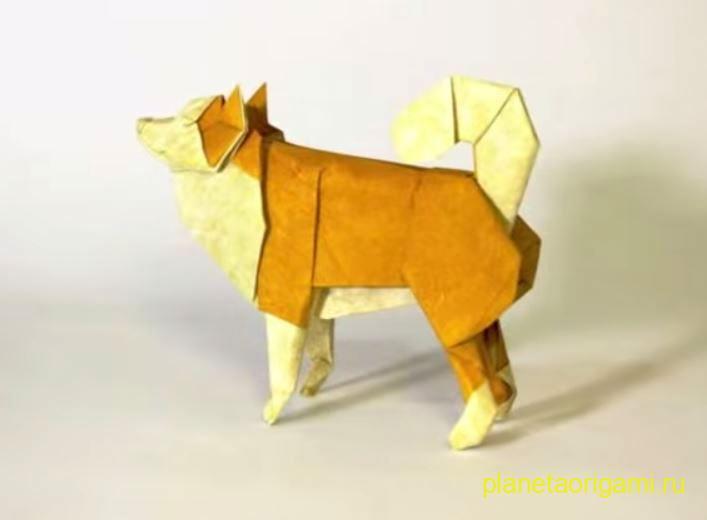 Оригами овчарка по схеме Seth Friedman