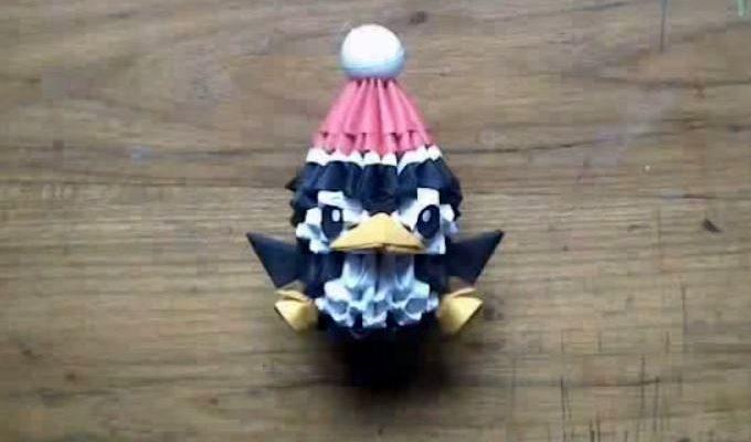 Новогодний пингвин из треугольных модулей